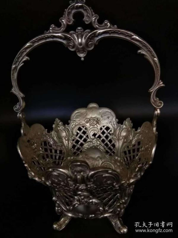 欧洲古董 餐具 银器 篮子 原应有玻璃内衬现缺失 241克