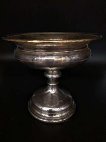 欧洲古董 餐具 银器 盘子 德国 镀金 标记12 连底座 重386克