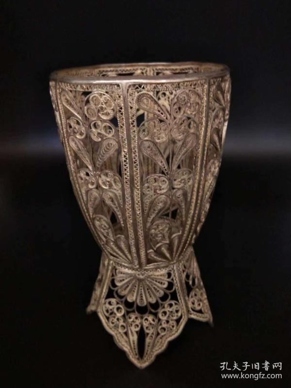 欧洲古董 餐具 银器 杯套 手工掐丝 193克