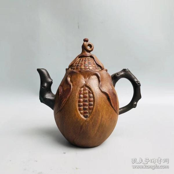 宜兴紫砂 蒋蓉制 特色花壶 玉米壶 有款识品如图一眼货