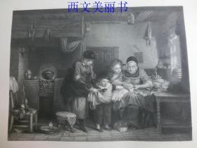 【现货 包邮】《割破了手指》(THE CUT FINGER)  1845年钢版画  出自《大卫·威尔基画集》 尺寸约34.8×25.5厘米   (货号18025)