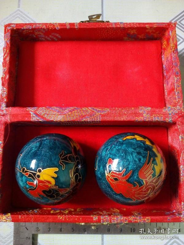锦盒装珐琅掐丝保健球