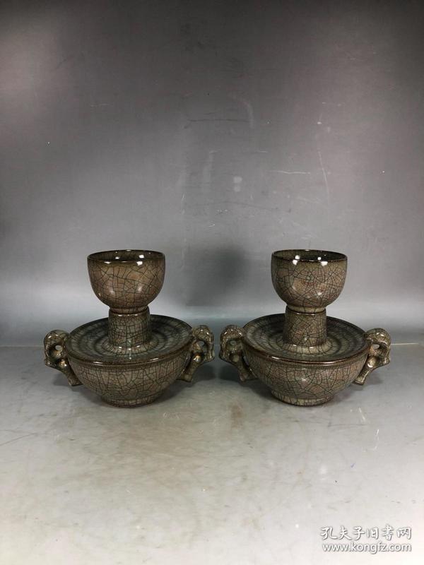 精品瓷茶盏 哥窑开片金丝铁线古典瓷茶盏 一对