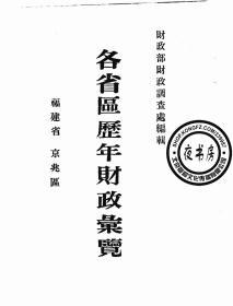 各省区历年财政汇览-京兆区福建省-(复印本)