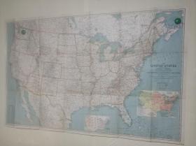 National Geographic国家地理杂志地图系列之1940年12月 The United States of America 二战时期美国地图