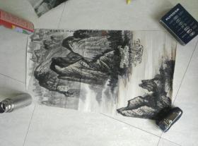 戴朝模山水画,笔名:山子,乌江夜泊。如图