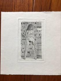 塞维林情色精品藏书票系列《woman shows through all book》  作品编号408 无票主 罕见精品 作品样张