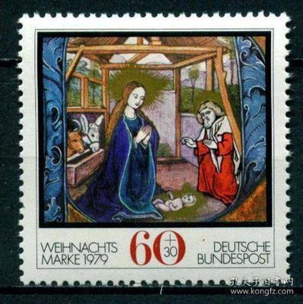 『德国邮票』 1979年 圣诞节 木刻画 耶稣诞生  1全