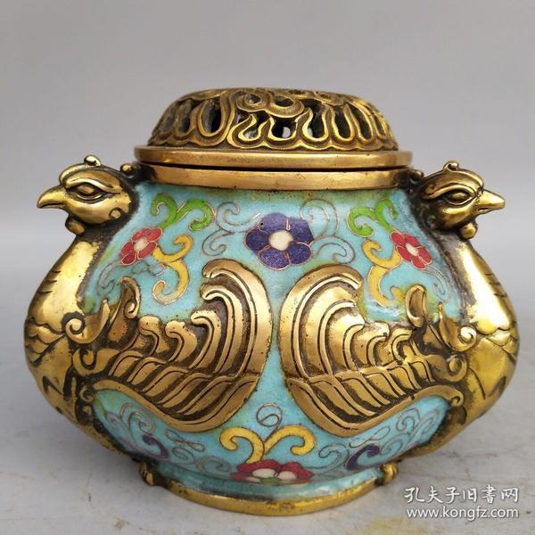 铜胎鎏金景泰蓝掐丝珐琅彩熏香炉尺寸重量如图