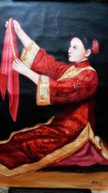 蒋昌一,油画精品美女人物一幅,【纯手绘,作品保真】
