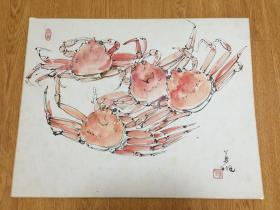近代日本洋画家【藤森兼明】手绘《海蟹图》色纸一幅