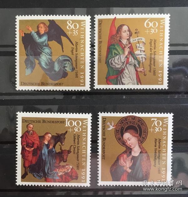 『德国邮票』联邦德国 1991年  圣诞节 绘画《受胎告知的天使》4全新 左上一枚金粉略氧化