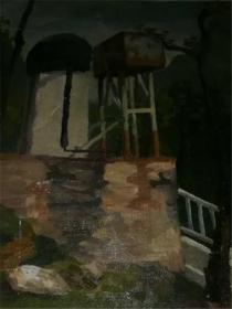 著名画家布面风景油画《水塔》