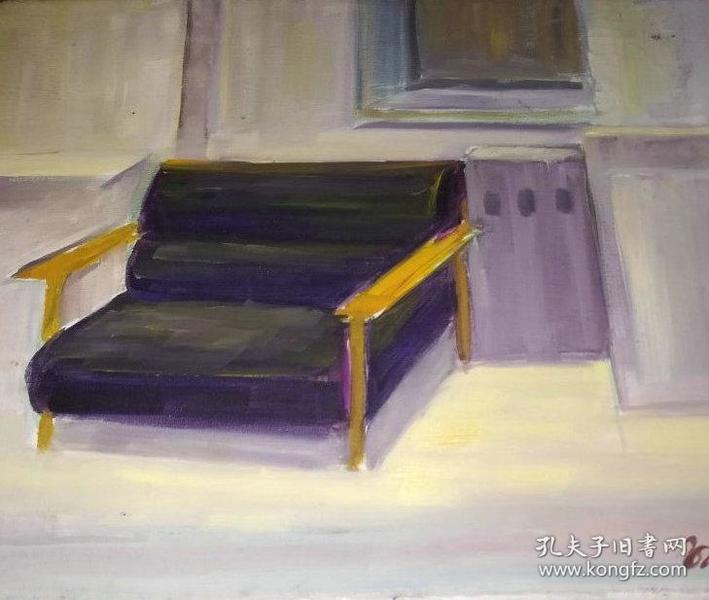 油画名家带框布面油画《双人椅》