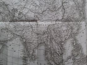 十九世纪 1830年 亚洲包括中国、印度、印度支那半岛 铜版画 大型地图 可作墙饰、礼物、收藏或教学用途 VINTAGE COPPER ENGRAVING PRINT