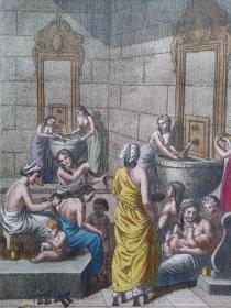 十九世纪 1820年代 铜版画 公共浴堂 可作墙饰、收藏或教学用途 VINTAGE COPPER ENGRAVING PRINT