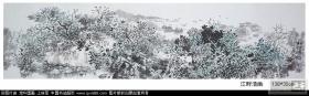 海南省美术家协会会员,宋庆龄书画院副院长江宗海四尺对开国画 江畔清幽