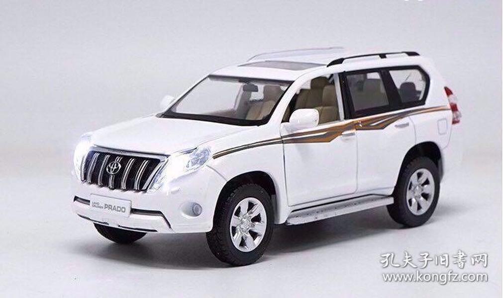 1:32原厂2016款全新丰田霸道普拉多仿真声光回力汽车模型收藏(白色拉花版)