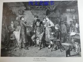 【现货 包邮】1883年木刻版画《宠物鸟经销商》(Der f?chsische Vogel h?ndler)  尺寸约40.8*27.5厘米  (货号 18027)