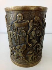 纯铜笔筒·精美浮雕十八罗汉图·纯铜大笔筒·重量1694克【包老保真】\\