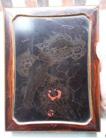 日本古董漆器 唐狮子莳绘 樱花螺钿砚箱