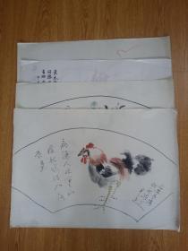 日本画作四幅合售《仿新罗山人雄鸡图》《秋日花草图》《松山寺院图》《红虾图》,【芳外叟、芳外忠、芳外史】款