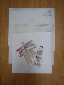日本画作四幅合售《山水农家》《飞燕图》《艳服人偶图》《金鱼图》,【芳外】款
