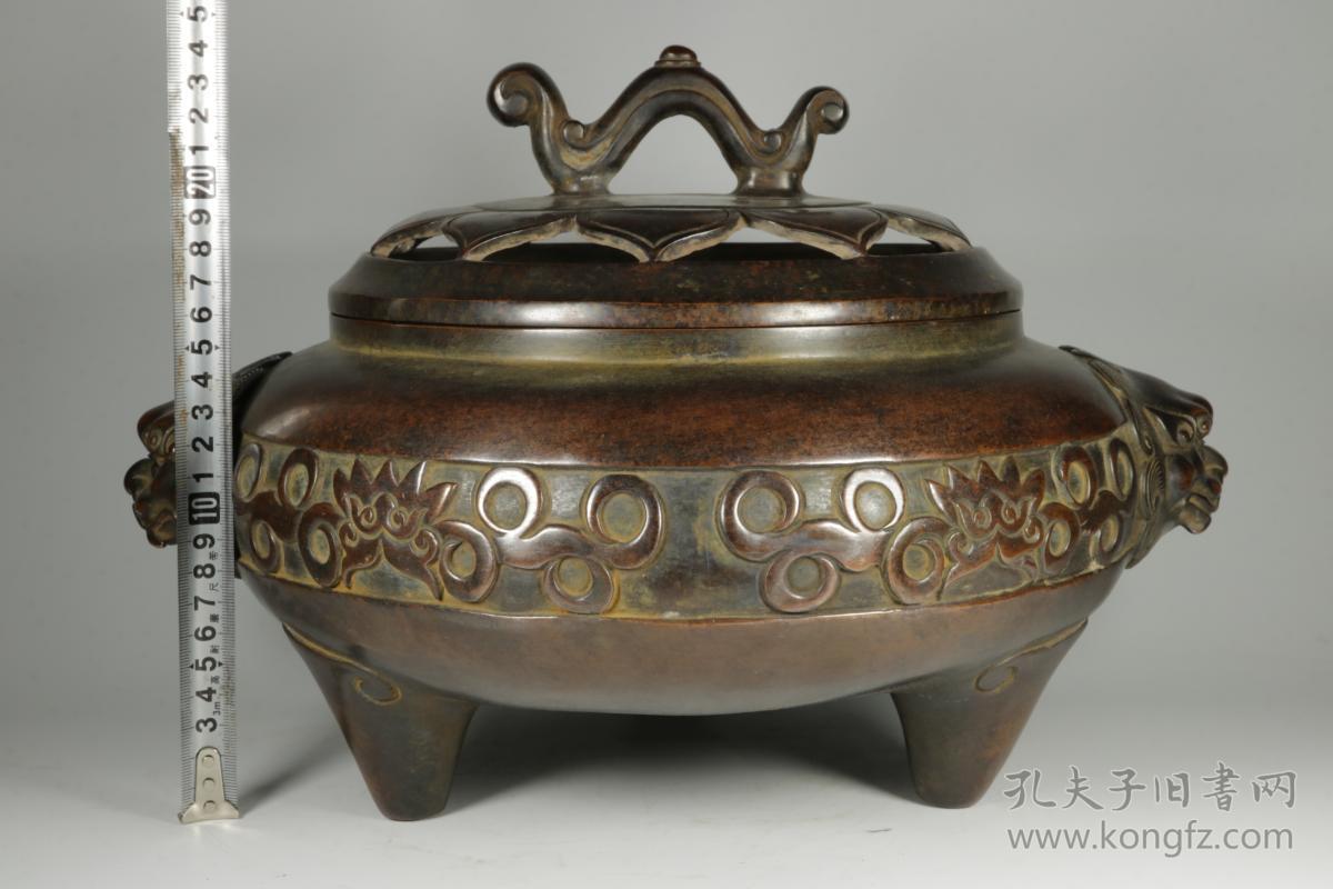 清代,双狮耳满工雕刻老熏香炉,器型漂亮,包浆老道图片