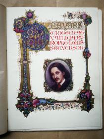《维利马的祈祷》斯蒂文森著 书籍插图装帧名匠 Alberto Sangorski手写描金彩绘底本 单面印筒子叶法式装订 精美