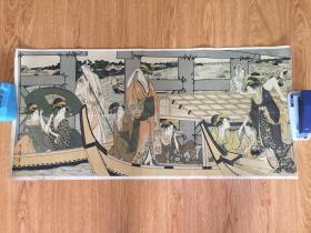 民国日本精印浮世绘美人图《两国桥夕凉图》,浮世绘大师【喜多川歌麿】绘