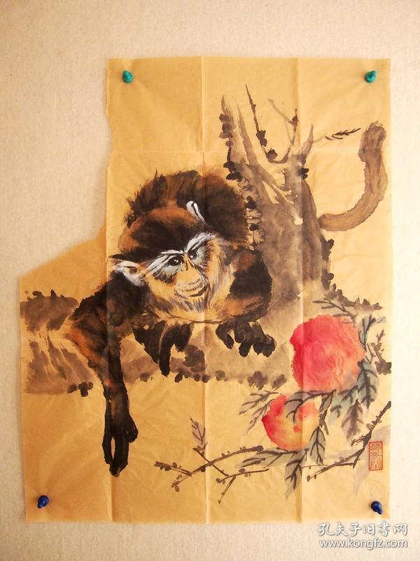 方】国画 灵猴献寿 无款有残损-国画 名人字画