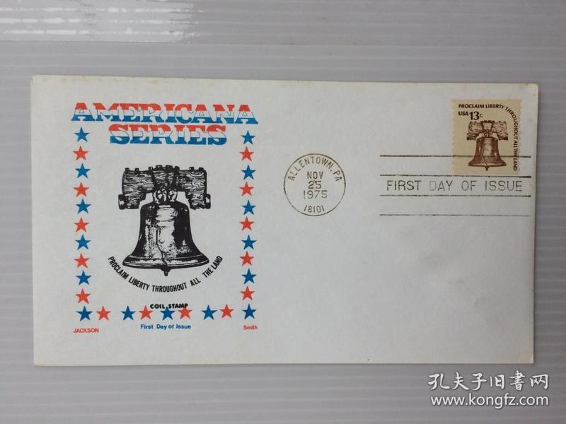 1975年11月25日美国发行(铃钟)13分邮票首日封