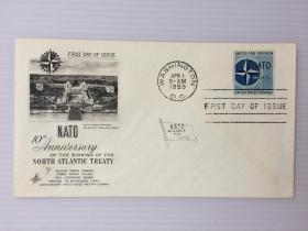 1959年4月1日美国(北大西洋公约的签署10周年纪念)首日封