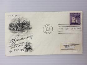 1957年8月15日美国(第一艘轮船350周年纪念)首日封
