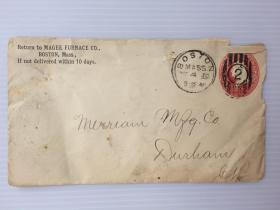 1883年12月4日美国(波斯顿寄达勒姆)早期2分邮资实寄封