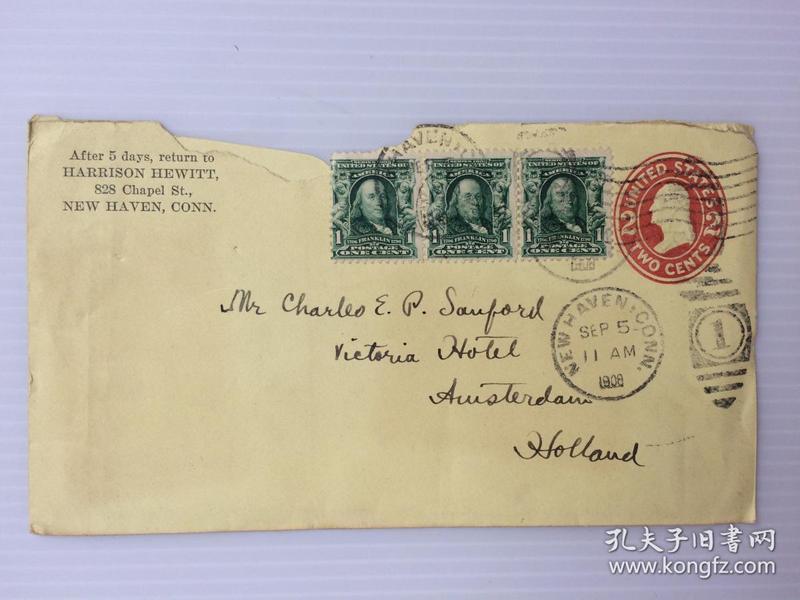 1908年9月5日美国(纽黑文寄阿姆斯特丹)实寄封贴早期邮票3枚(销54号投递戳