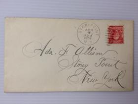 1904年4月7日美国(斯托尼角寄纽约)实寄封贴早期邮票1枚