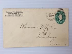 1887年11月10日美国(纽黑文寄达勒姆)早期2分邮资实寄封