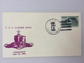 1962年6月16日美国(HUNLEYAS-31)首日封贴邮票1枚