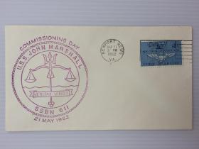 1962年5月21日美国(导弹核潜艇约翰·马歇尔号SSBN-611船徽标志首日封