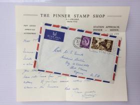 1960年7月21日英国寄美国航空实寄封贴邮票2枚(含信件)