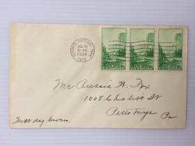 1934年7月16日美国优胜美地国家公园实寄封贴(连票)3枚