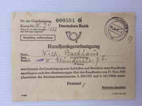 1948年2月15日德国汉诺威实寄(广播许可证)少见