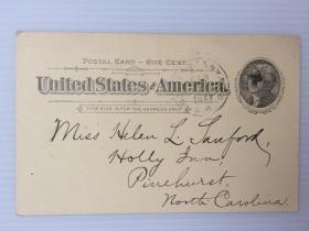 1898年2月18日美国(波斯顿寄派恩赫斯特)1分邮资实寄明信片