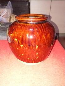 解放前后,宜钧酱色釉白紫砂胎罐(汤益顺款)——可做文房清供用品