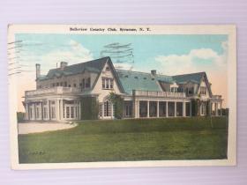 1924年8月20日美国(雪城寄纽黑文)实寄明信片贴邮票1枚(贝尔维尤俱乐部)