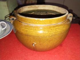 清末或民国宜钧茶色四系紫砂茶罐(品好)