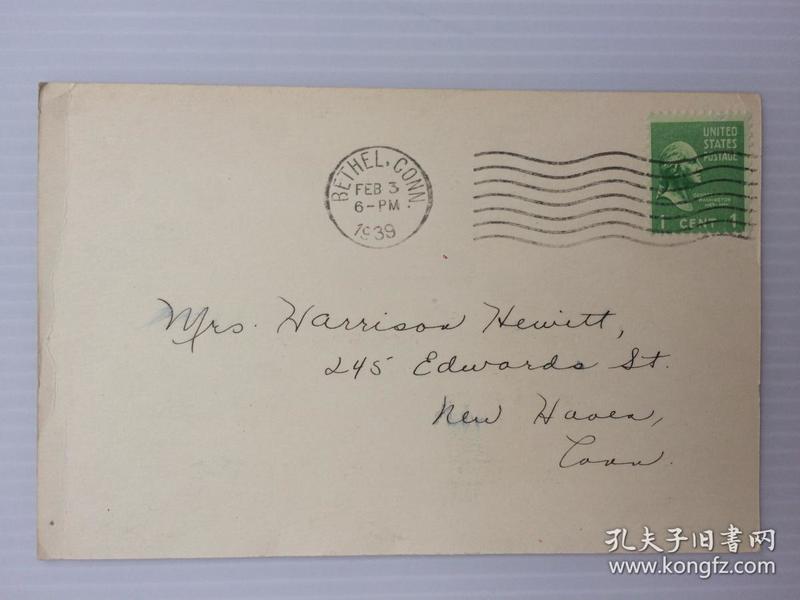 1939年2月3日美国(伯特利寄纽黑文)实寄明信片贴早期邮票1枚