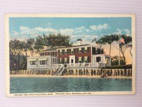 1921年美国(红色旅店建于1805年)实寄明信片贴早期邮票1枚