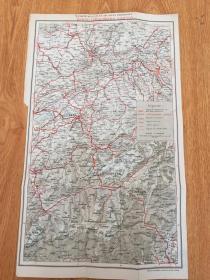 【民国欧美地图3】1920年前后彩印瑞士地图《BERNE-LOTSCHBERG-SIMPLON(伯尔尼-布里格-辛普朗)》